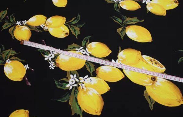 Lemon and flowers pattern Silk