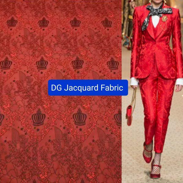 20200927 040752 Italian Designer Jacquard Fabric/Red jacquard crown,angels pattern 1