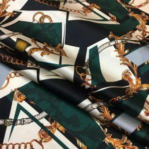 Italian Designer Chain pattern silk fabric/Classic design fashion week fabric tassel print/Colour #1 /Catwalk Italian silk fabric Valentino