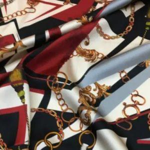 Italian Designer Chain pattern silk fabric/Classic design fashion week fabric tassel print/Colour #2 /Catwalk Italian silk fabric Valentino