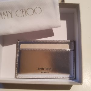 Jimmy Choo Athini Card Slot Omec Silver Colour/Jimmy Choo Metallic Calf Credit Card /Slot/Jimmy Choo Accessories Italian Brands Accessories with Passports,Certificate of Authenticity,Dust bags,boxed