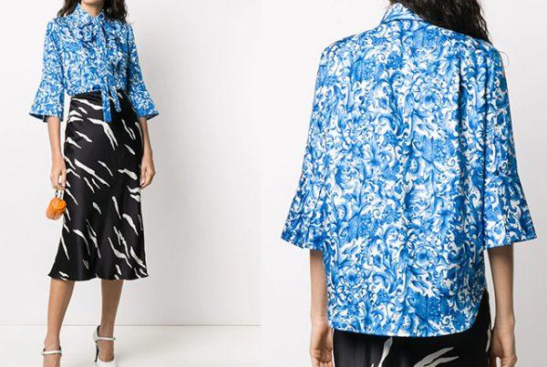 Valentino Silk fabric Blue and white majolica pattern