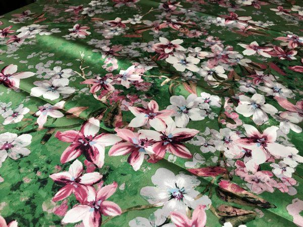silk fabric,heavy digital painted floral pattern