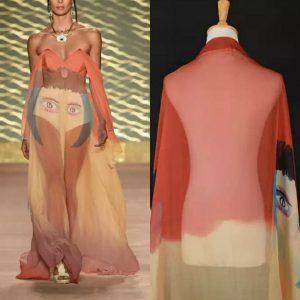 Italian Designer Silk Chiffon Digital paint fabric/2021 Fashion week Silk fabric/Exclusive silk chiffon