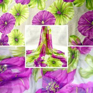 Emanuel Ungaro Silk Georgette Fabric/Lotus leaf and purple flowers design Italian Fabric/2020 FASHION week Silk Georgette fabric/Limited edition Italian fabric