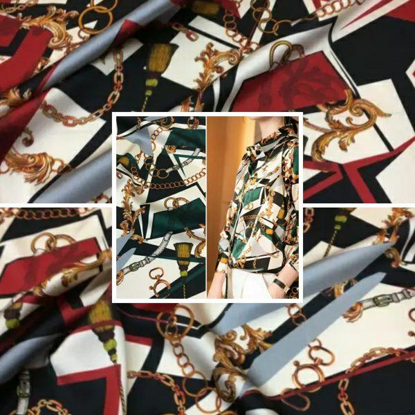 PhotoCollage 20200927 051134441 Italian Designer Chain pattern silk fabric/Classic design fashion week fabric tassel print/Colour #2 /Catwalk Italian silk fabric Valentino 1