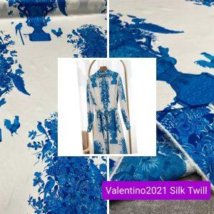 Valentino Silk fabric/New Collection Valentino 2021 stretch silk twill fabric/Fashion Week Italian Fabric