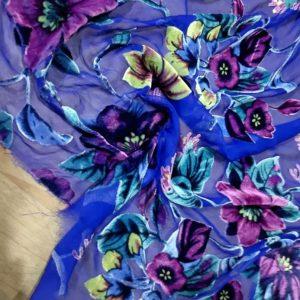 Emanuel Ungaro Silk Velvet 3D fabric/Italian Designer Devore lace silk velvet raised design fabric