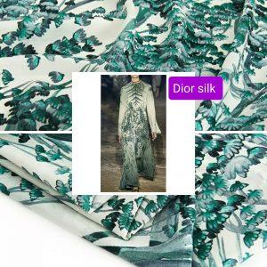 Dior Silk Fabric Fashion Week Designer Fabric/Price is for 3,5 merers full panel/Nature pattern digital inkjet silk fabric