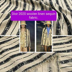 Dior fabric 2020 fashion week Woolen linen sequin fabric/Catwalk Fabric/Wonderful French designers fabric