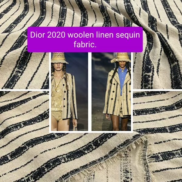 Dior fabric 2020 fashion week Woolen linen sequin fabric