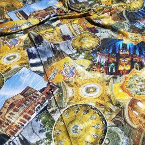 Italian Designer Byzantine Design Jersey Fabric/Limited Editian Art Work Exclusive Pattern Church Mother of God Pattern
