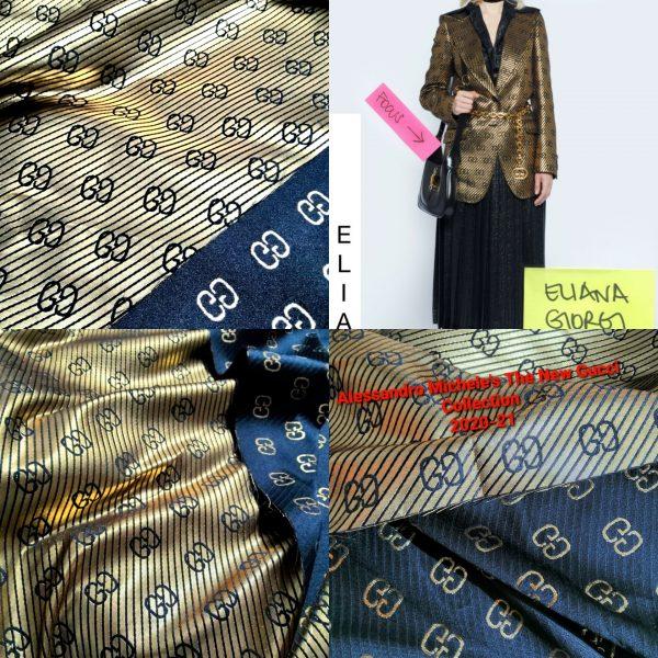 20201010 224417 Gucci polyester gold yarn fabric/Gold yarn logo Gucci jacquard fabric 1