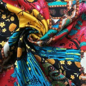 Exclusive Silk fabric Oscar De La Renta/Designs based on Oriental influences/Iznik and Chinoiserie Inspired Italian designer Silk fabric/Couture Fabric Limited Edition