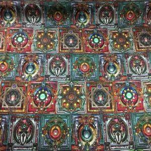 Exclusive Italian Designer Collection Pattern Design based on Symbols,Gothic and Knights Templar symbols silk fabric