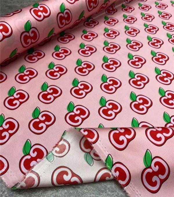 Gucci Cherry Silk Twill fabric