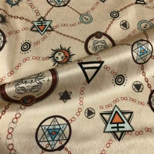 """Exclusive Italian Silk Fabric depicting Astrology signs and Symbols """"Art Meets Fashion """" Collection"""