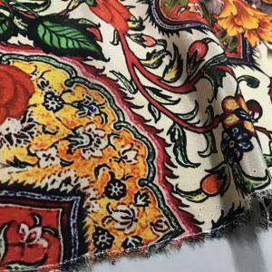 Exclusive Italian Heavy Silk Fashion Week Fabric/Islamic Calligraphy and Art design of Iznik pottery inspired Piure silk fabric/ Wonderful limited Art Meets Fashion Collection