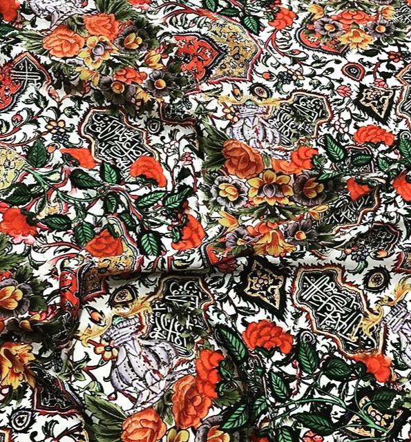 20201018 234547 Exclusive Italian Heavy Silk Fashion Week Fabric/Islamic Calligraphy and Art design of Iznik pottery inspired Piure silk fabric/ Wonderful limited Art Meets Fashion Collection 1