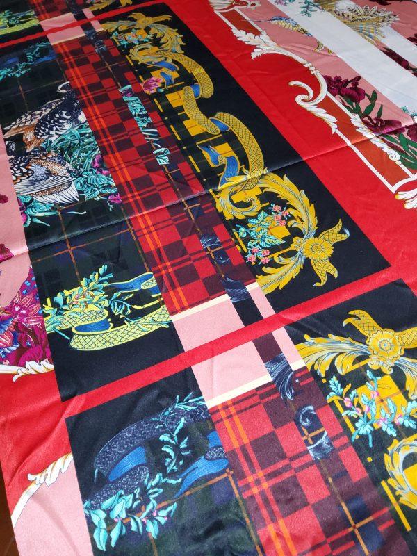 Salvatore Ferragamo Fashion week fabric/Multicoloured Silk fabric with partridge pattern,baroque fragments,checked and floral design.Limited Collection 1 ⋆ Rozitta Rapetti