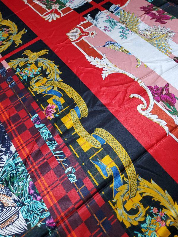 Salvatore Ferragamo Fashion week fabric/Multicoloured Silk fabric with partridge pattern,baroque fragments,checked and floral design.Limited Collection 2 ⋆ Rozitta Rapetti