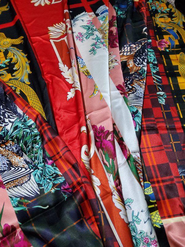 Salvatore Ferragamo Fashion week fabric/Multicoloured Silk fabric with partridge pattern,baroque fragments,checked and floral design.Limited Collection 3 ⋆ Rozitta Rapetti