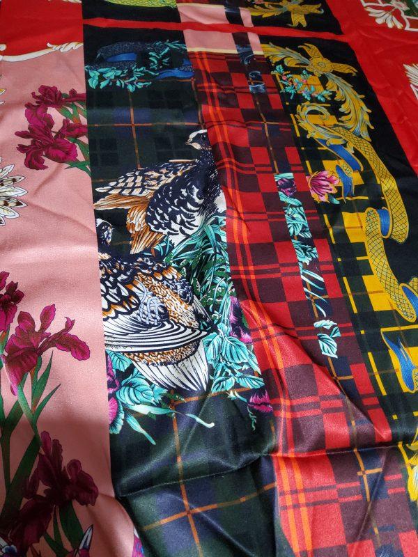 Salvatore Ferragamo Fashion week fabric/Multicoloured Silk fabric with partridge pattern,baroque fragments,checked and floral design.Limited Collection 4 ⋆ Rozitta Rapetti