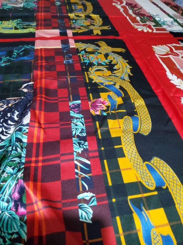 Salvatore Ferragamo Fashion week fabric/Multicoloured Silk fabric with partridge pattern,baroque fragments,checked and floral design.Limited Collection 5 ⋆ Rozitta Rapetti