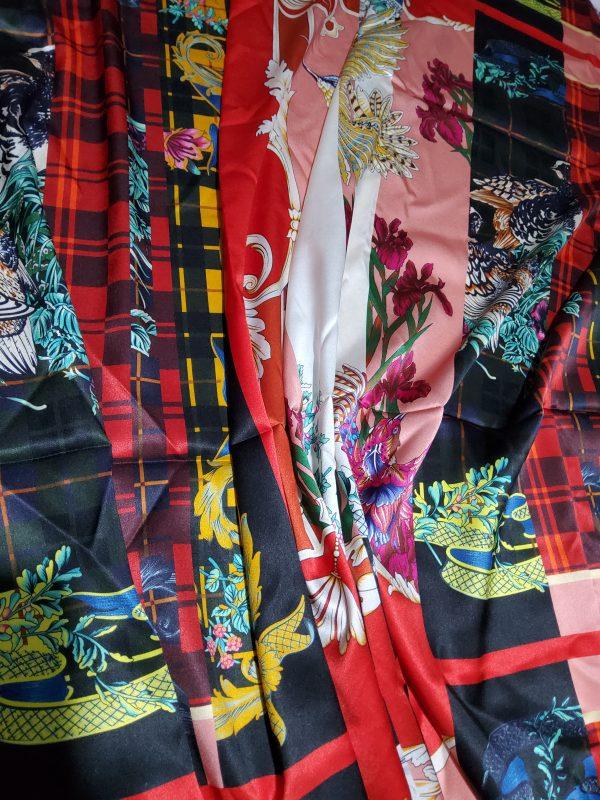 Salvatore Ferragamo Fashion week fabric/Multicoloured Silk fabric with partridge pattern,baroque fragments,checked and floral design.Limited Collection 6 ⋆ Rozitta Rapetti