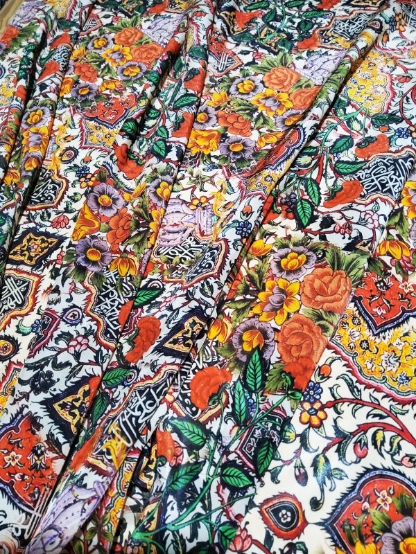 20201031 183245 scaled Exclusive Italian Heavy Silk Fashion Week Fabric/Islamic Calligraphy and Art design of Iznik pottery inspired Piure silk fabric/ Wonderful limited Art Meets Fashion Collection 2