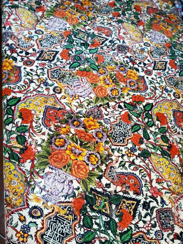 Islamic Calligraphy and Art design of Iznik pottery inspired Piure silk fabric