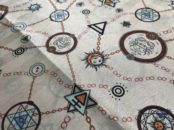 Exclusive Italian Silk Fabric depicting Astrology
