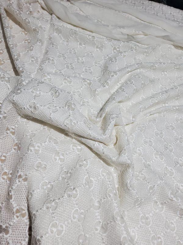 Gucci Silk Embroidery Cotton base Lace Fabric
