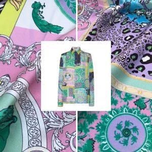 Versace Silk Satin 2021 Collection/Versace Snake skin pattern New Collection Silk/Versace Shirt fabric
