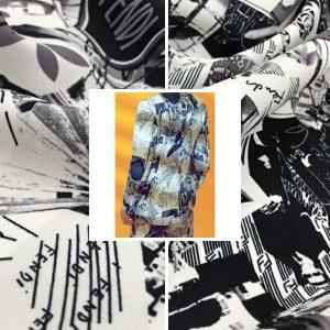 Fendi Fabric Silk Satin 2021 Collection/Fendi Silk Twill fabric,also available in Silk Satin/colour #1 White black