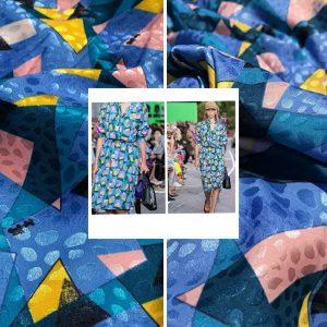 Valentino Silk Satin Brocade Devore Fabric/colour #2 Blue /Haute Couture Fabric 2021