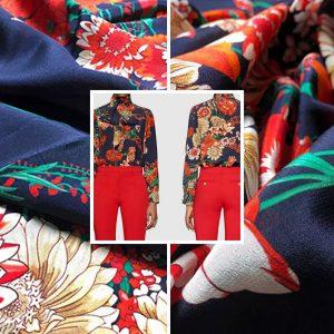 Gucci 2021 Silk Crepe De Chine/Gucci Silk Fabric/Gucci Haute Couture fashion week fabric/Colour #2 Royal Blue