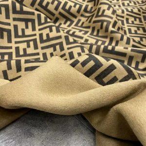 Fendi Cashmere Brown Logo Beige Base Fabric/2021 Fashion week Fendi Fabric for Poncho,Coat,Jacket