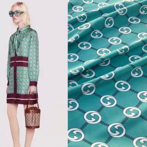 Gucci silk satin fabric 2021 Fashion Gucci fabric/Thin,light satin Couture fabric