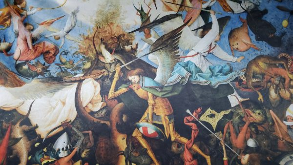 """20210128 180159 scaled Pieter Bruegel the Elder """"The Fall of the Rebel Angels"""" Digital Paint on Pure heavy silk.Fabric for outwear 24"""