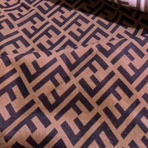 Fendi cashmere Fabric Chocolate base dark brown logo/Fendi fabric for coat,poncho,jacket/Limited Only!