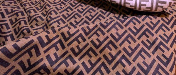 IMG 7017 scaled Fendi cashmere Fabric Chocolate base dark brown logo/Fendi fabric for coat,poncho,jacket/Limited Only! 1