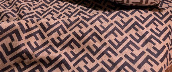 IMG 7018 scaled Fendi cashmere Fabric Chocolate base dark brown logo/Fendi fabric for coat,poncho,jacket/Limited Only! 2