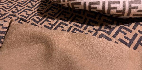 IMG 7019 scaled Fendi cashmere Fabric Chocolate base dark brown logo/Fendi fabric for coat,poncho,jacket/Limited Only! 3