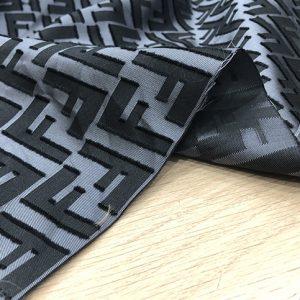 Fendi Silk Fabric/New Collection Silky Brocade with Applique Logo 3D Fendi Fabric/Grey