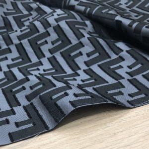 Fendi Silk Jacquard Fabric/New Collection Silky Brocade with Applique Logo 3D Fendi Fabric/Grey