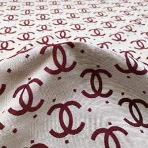 French Designer Jacquard fabric logo Monogram fabric/Fashion week couture brocade cotton fabric/Cat walk fabric