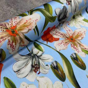 Italian Designer Stretch Silk/Lily pattern new collection Silk fabric