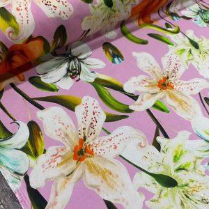 Italian Designer Stretch Silk/Lily pattern new collection Silk fabric #2