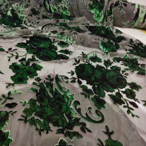 Emanuel Ungaro Silk based Devore velvet fabric floral pattern/Devore Silk fabric Italian Couture